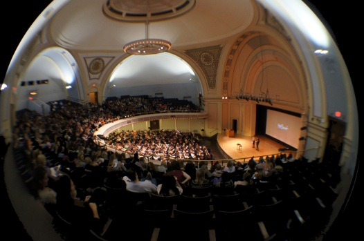"""Hasan Khalid of The Daily Illini. Frank Warren, author of the New York Times' best seller, """"PostSecret: Confessions on Life, Death, and God"""", presented a multimedia presentation at the Foellinger Auditorium on Nov. 5."""