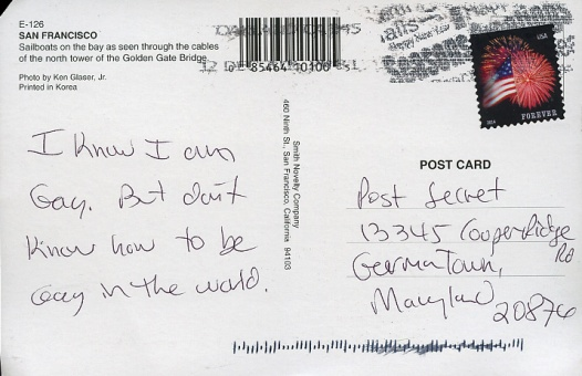 a short video of a canadian postsecret live event from ten years ago two minutes in i ask my wife on my flip phone if shes mailed in a secret see